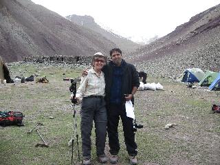 Maryann with Sanjay at Stok Kangri base camp